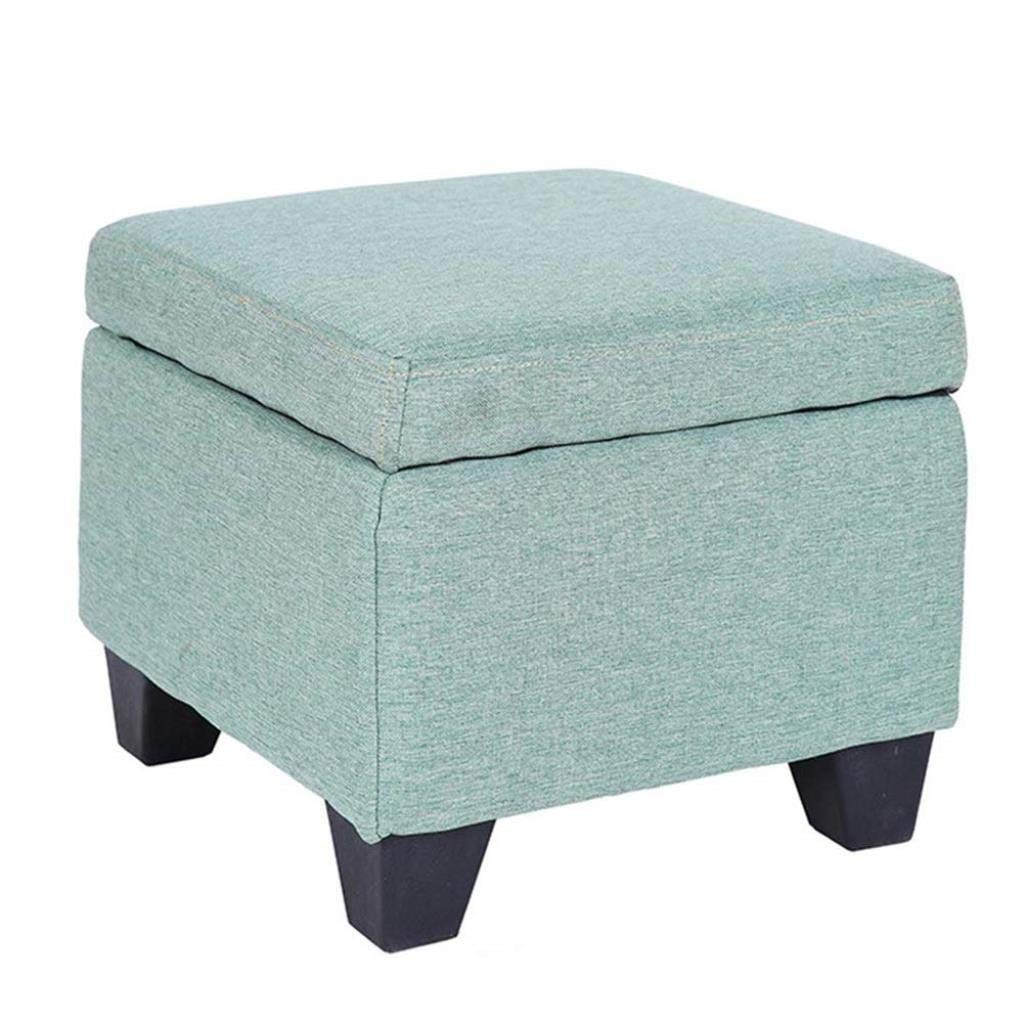 RDMZ Cushioning Storage Box Upholstered Footstool Ottoman Square Stool Multifunction Household Creative (Color : Cyan)