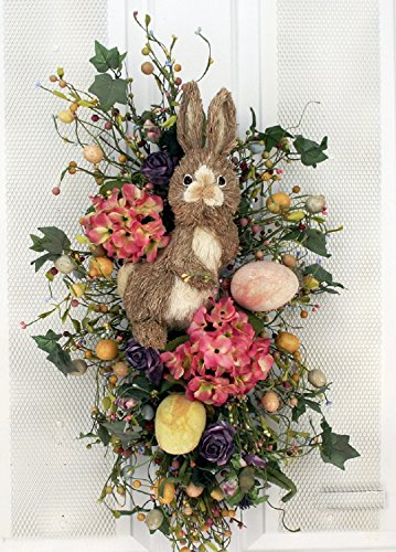 Easter Bunny Teardrop Decoration Easter Wreath With Eggs and