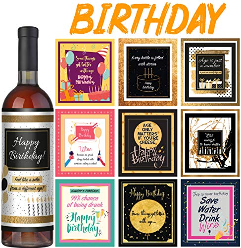 Printable Halloween Gift Labels (Wine Bottle Labels - Set of 10 - Birthday Wine Labels - Birthday gifts for woman and men - Birthday decorations for women and men - Birthday wine gifts for)