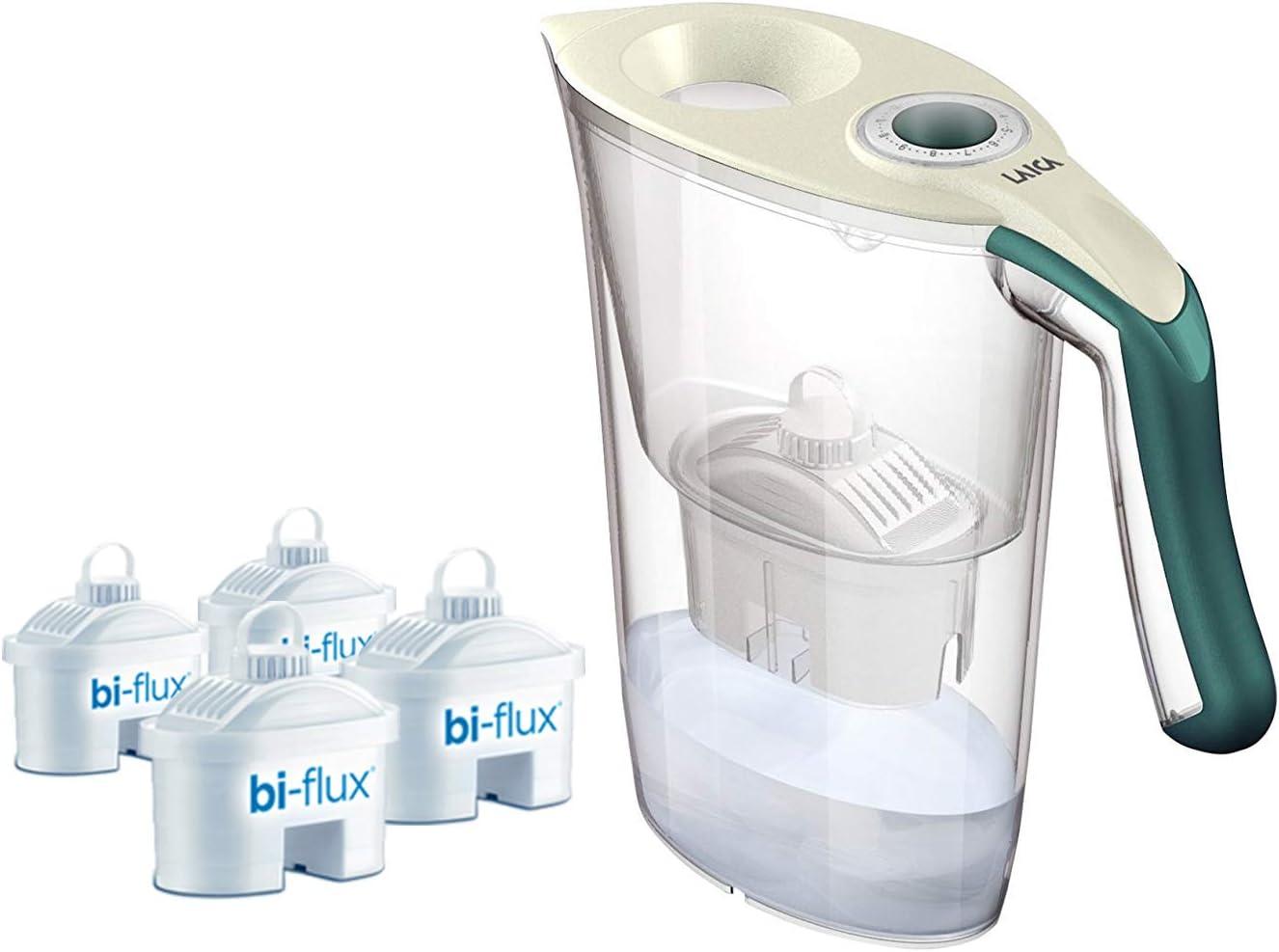 1 jarra filtrante Laica Carmen Tosca (verde) + 4 filtros biflux para filtrar el agua del grifo y mejorar su sabor. Los filtros bi-flux reducen el cloro y la cal y duran 150 litros o 1 mes.