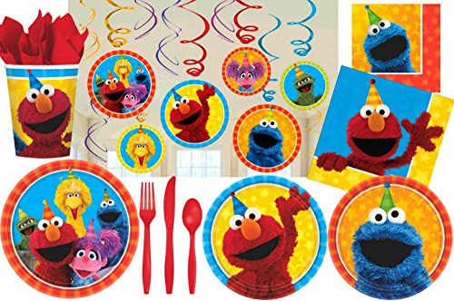 Sesame Street Birthday Party Supply Pack! Bundle Includes Plates, Napkins, Cups and Cutlery for 8 Guests Plus Hanging Foil Swirl (Sesame Street Party Big Bird Lunch Napkins)