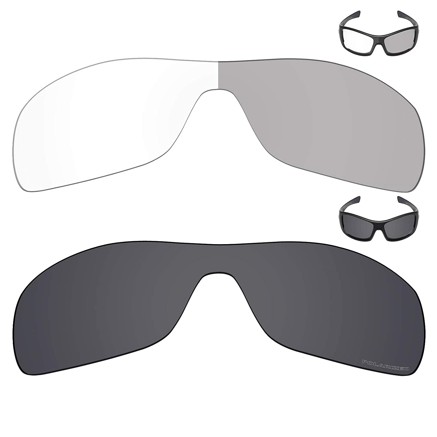 ef406b8723794 Amazon.com  Mryok+ 2 Pair Replacement Lenses for Oakley Antix Sunglass -  Eclipse Grey Photochromic Stealth Black  Sports   Outdoors