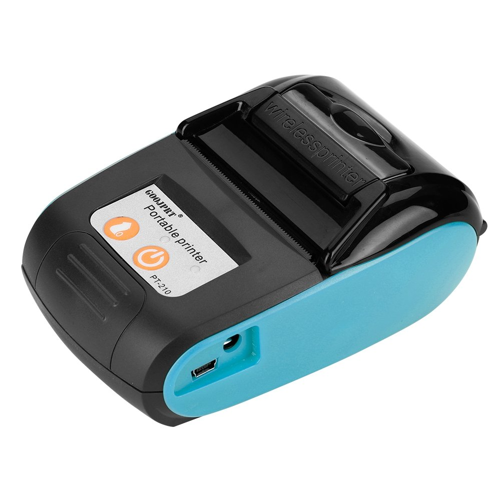 Richer-R Tragbar Mini 58mm POS Drucker, Portable Mini Wireless Bluetooth 58mm High Speed Thermodirektdrucker,Drahtloser Thermodrucker Belegdrucker Kassendrucker fü r Android IOS Windows(Orange)