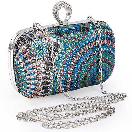 Womens Vintage Evening Clutch Bag Compact Peacock Tail Color Beaded Sequin Handbag Party Wedding Purse Hard Case Cocktail Bags (Blue) -