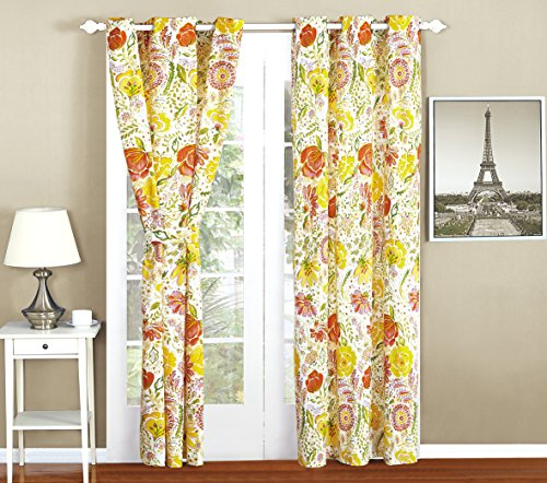 All American Collection New 4pc Printed Curtain Set For Reversible Bedspread Set with Dust Ruffle (4PC CURTAIN ONLY, ORA