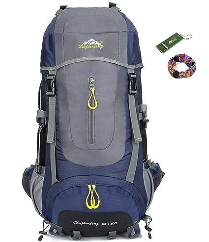 onyorhan 70L Viaje Mochila Trekking Senderismo Excursionismo Alpinismo Escalada Camping para Hombre Mujer (Azul Marino