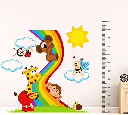 Luke and Lilly Animals Playing with Rainbow Wall Sticker(PVC Vinyl,135 cm x 110 cm)