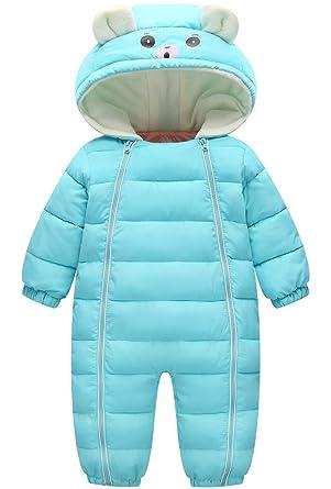 ee2eaabbf7ec Amazon.com  JELEUON Little Unisex Baby Hooded One Piece Puffer ...