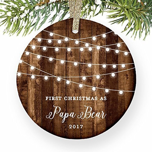 Papa Bear Gifts  1St Christmas As A Father Ornament  New Mad Newborn Baby Pregnant Pregnancy Dated Rustic Xmas Farmhouse Collectible Present 3  Flat Circle Porcelain W  Gold Ribbon   Free Gift Box