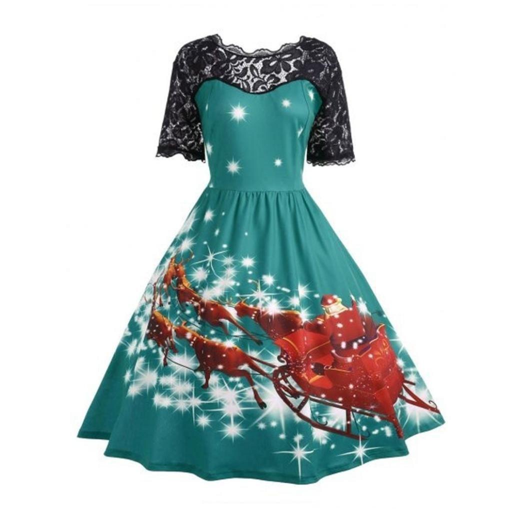 Plus Size Dress for Women, Paymenow Christmas Party Dress Lace Splice Vintage Xmas Swing A Line Dress (Green, L)