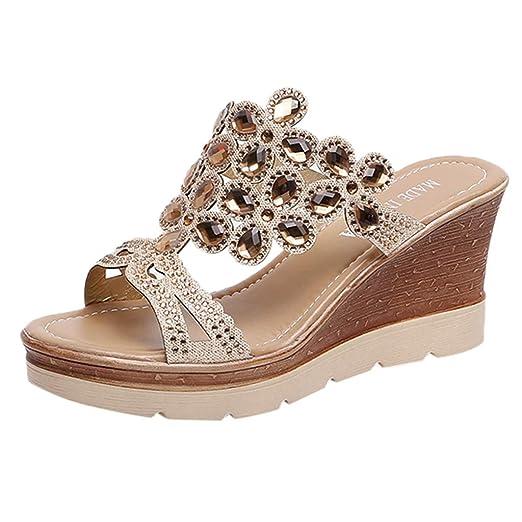 5112dedcc71 ️Women Summer Peep Toe Breathable Beach Sandals Rhinestone Slip-On Wedges  Thick Bottom Shoes  Clothing