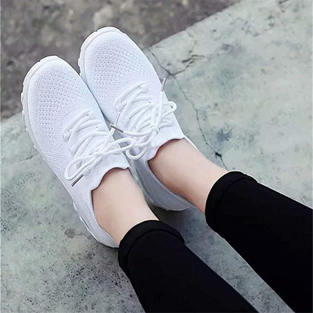 Womens Trainers Ladies Sneakers Lightweight Mesh Walking Running Sports Gym Knit Shoes Air Cushion Casual Comfy Black Blue Pink Khaki White Size 3-10 UK