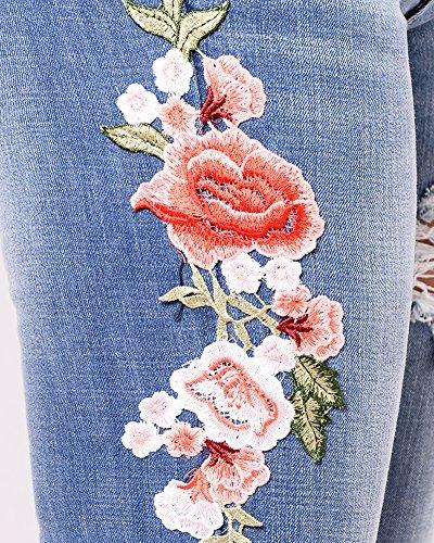 Mujer Agujero Marino Vaqueros ZhuiKunA Bordado Pantalones Casuales Azul Rotos Flacos Mezclilla qUH7wd0