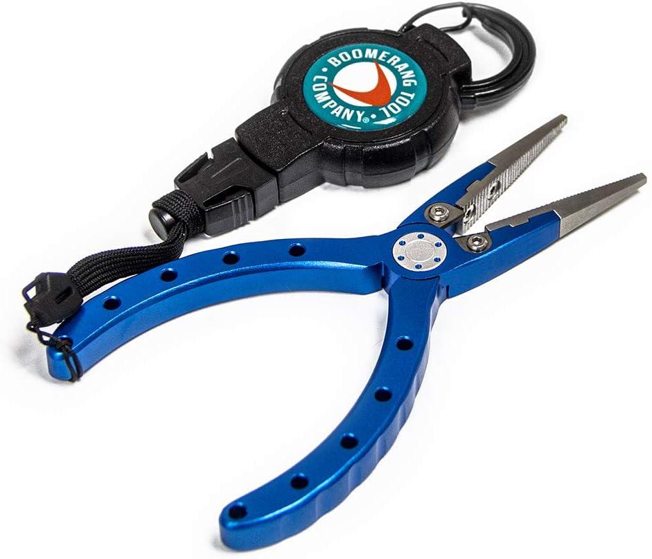 Boomerang Fishing Pliers with Medium Retractable Gear Tether, Carabiner, 36 Inch Kevlar Cord, Black Polycarbonate Case
