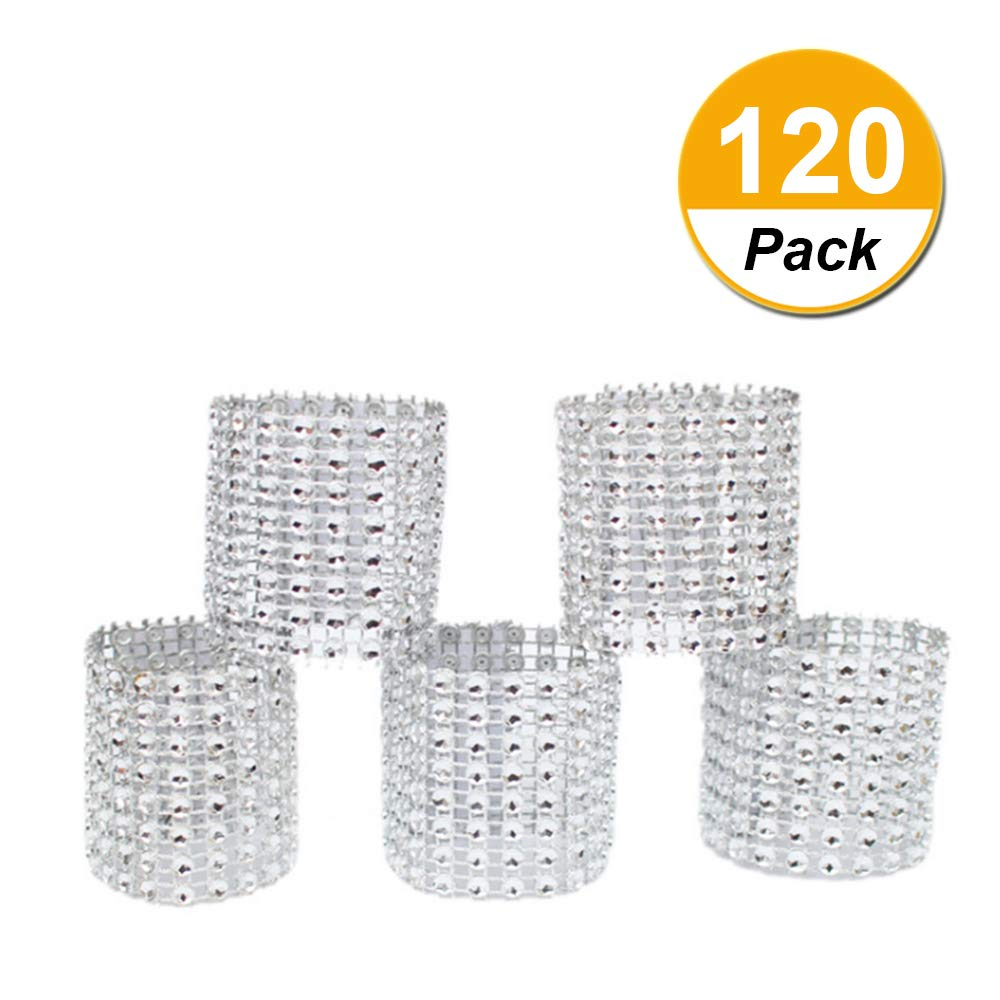 Napkin rings, silver rhinestone mesh bling napkin rings for wedding decoration,plastic chair sash bows,napkin holder for DIY party birthday banquet supply 5.12 x 1.57inch Pack of 120