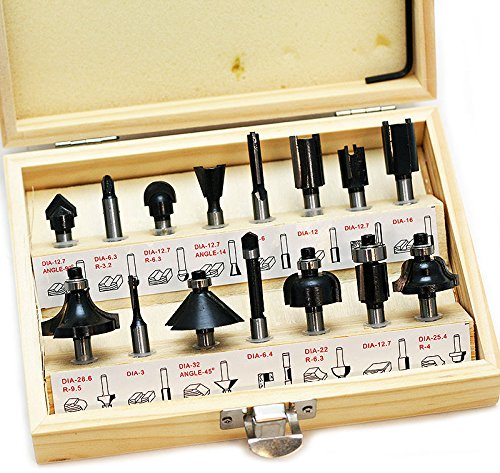 - 15 Pc Router Bit Set Wood Working 1/4