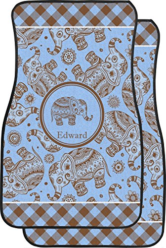 Price comparison product image RNK Shops Gingham & Elephants Car Floor Mats (Front Seat) (Personalized)