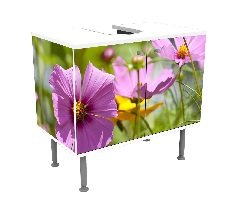 wandmotiv24 Mueble de ba/ño Flores Que Crecen en el jard/ín de Verano Pegado Completo Lavabo Mueble Lavabo M1039