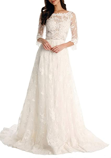 Review Tsbridal Lace Wedding Dress 2018 3/4 Sleeves Bohemian Bridal Dresses
