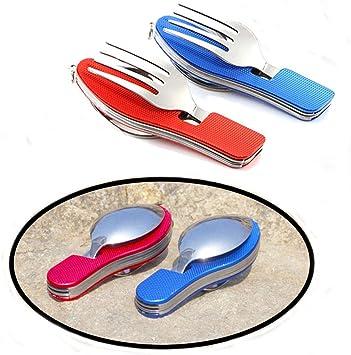 Senven® 2Pcs 4-en-1 Cubiertos Plegables, Vajilla Portátil de Acero Inoxidable para Camping, Vajilla Plegable Desmontable, Incluye Cuchillo, Tenedor, ...