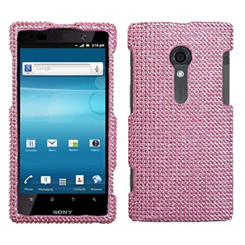 Asmyna SERILT28ATHPCDMS004NP Premium Dazzling Diamante Diamond Case for Sony Ericsson Xperia Ion LT28AT - 1 Pack - Retail Packaging - Pink (Sony Phone Case Ericsson)