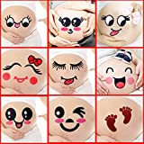 CHICTRY 5Pcs Maternity Belly Stickers Cute Facial Expressions Pregnant Women Bump Belly Pregnancy Week Sticker Great Baby Keepsake Photo Props Type B One Size
