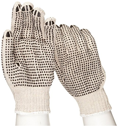 Dotted Palm Gloves (West Chester 708SKBS Mens String Knit Dotted 2 Sides Glove - Standard, 12 Pairs)