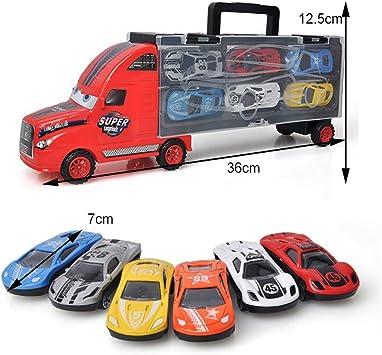 Beito Transporte Coche Portador camión catapulta Batalla contenedor camión Caja de Almacenamiento portátil con 6 Modelos de Coche de aleación para niños y niñas: Amazon.es: Juguetes y juegos