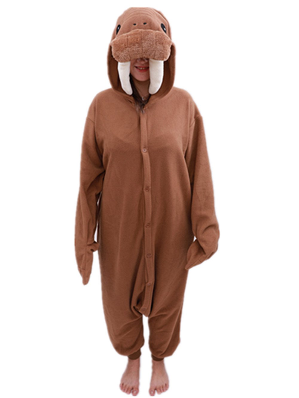 Adult Walrus Onesie Pajamas Animal One Piece Cospaly Costume (X-Large, Brown)