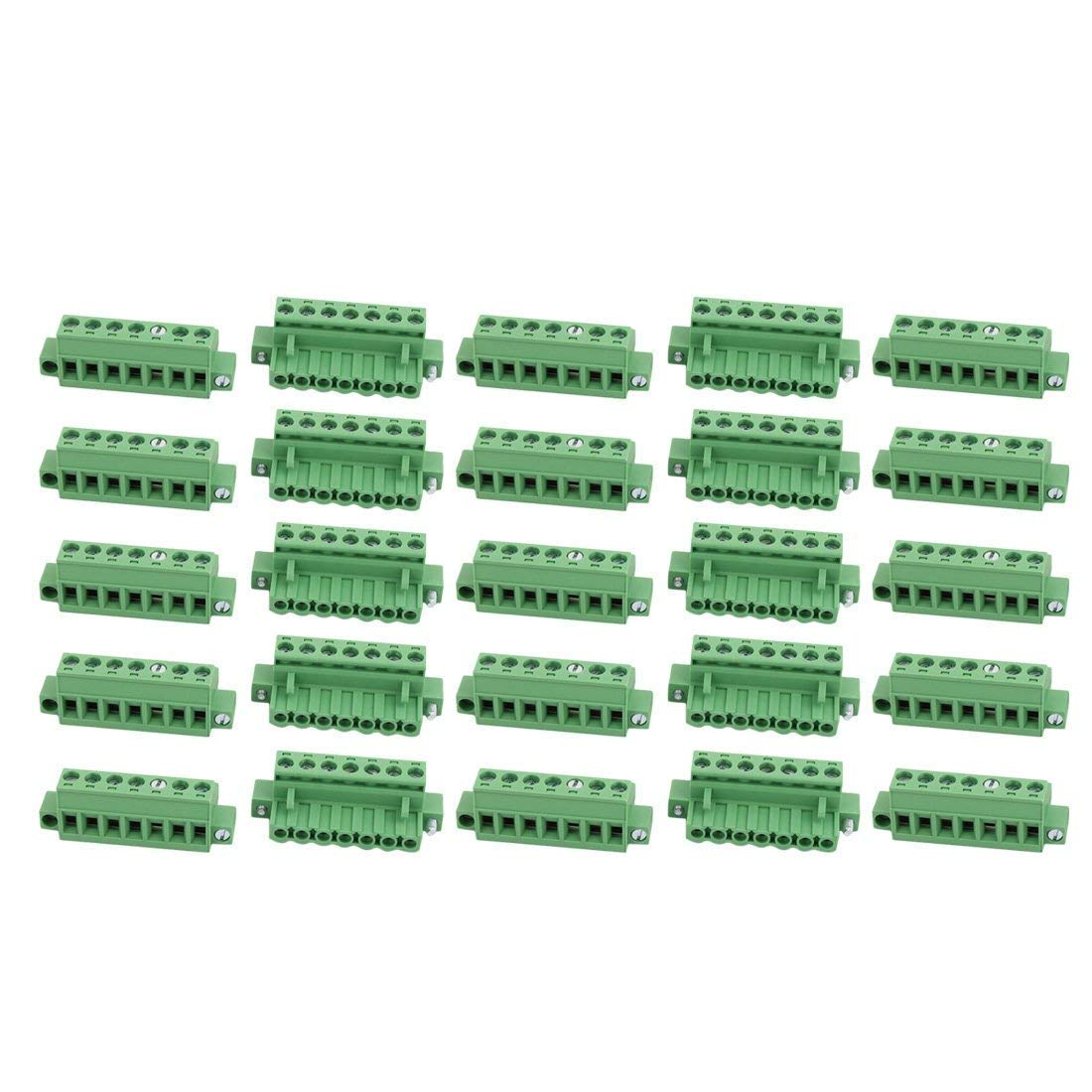25Pcs AC 300V 15A 5.08mm Pitch 7P Terminal Block Wire Connection for PCB Mounting