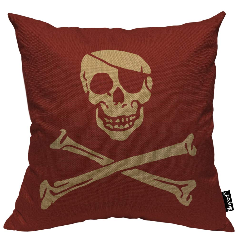 Mugod Skull Throw Pillow Cover Pirate Skull Crossbones Skeleton Smile Retro Rustic Red Decorative Pillow Cases Square Cotton Linen Cushion Cover for Home Bed Sofa Couch 18x18 Inch