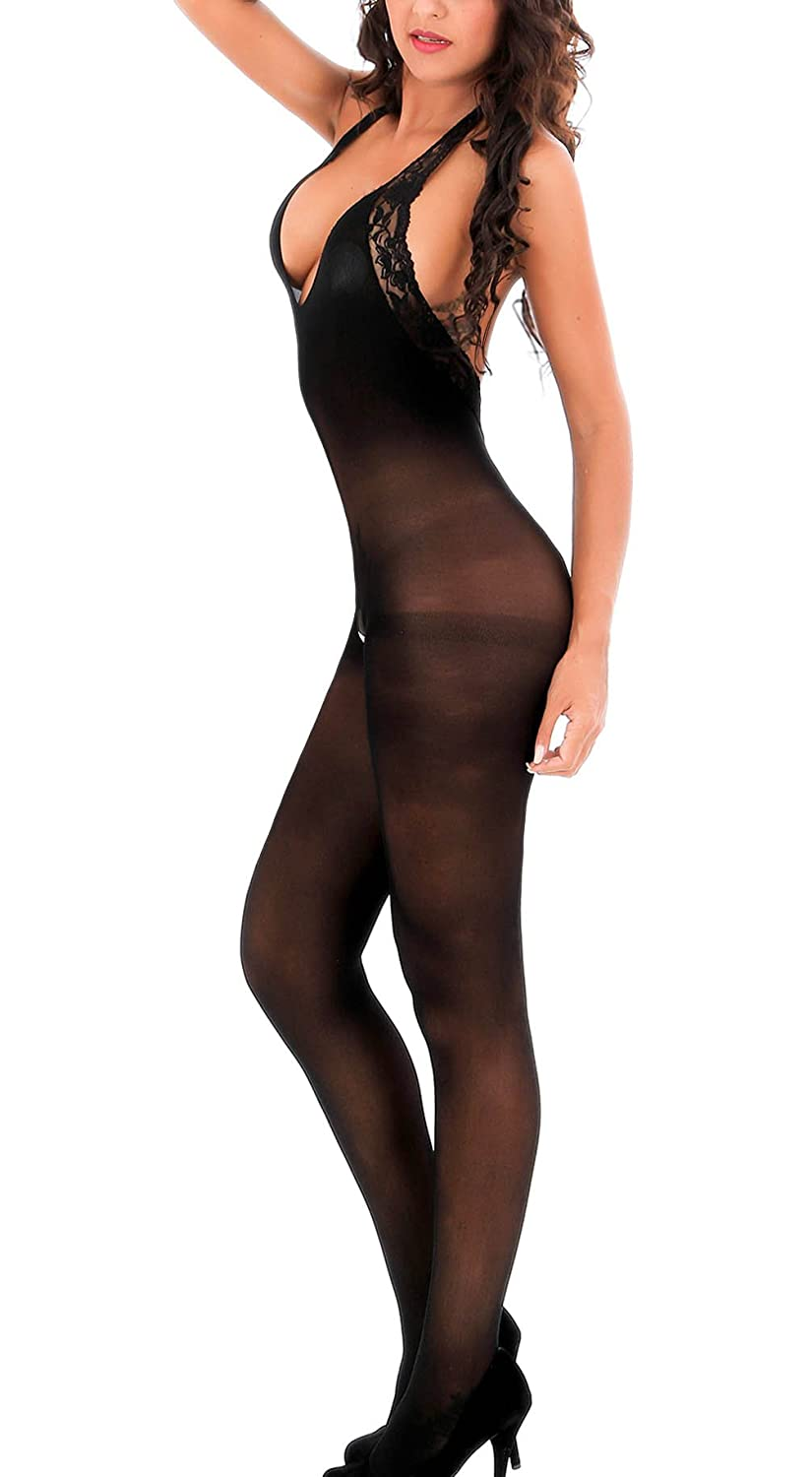 70f621e3e Material   93.4% Nylon.   Polyester and spandex. Hand-wash only. Imported Sexy  sheer black opaque bodystocking features halter top with stretch lace trim  ...