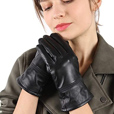 Mens Soft Leather Gloves 100/% Genuine Leather Driving Gloves Comfort One Button