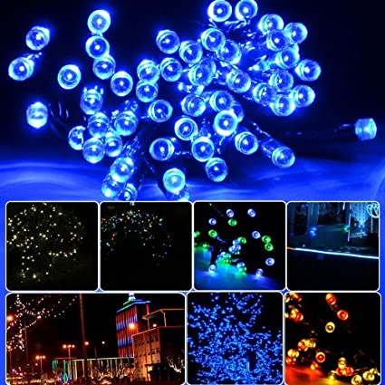 lycheers blue solar power 11m 33ft 60 led solar fairy string lights for outdoor room