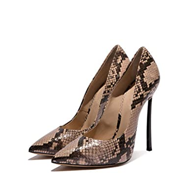 cf49a8dc1c Image Unavailable. Image not available for. Color: Women's Snake Print  Large Size Shallow Sexy Thin High Heels