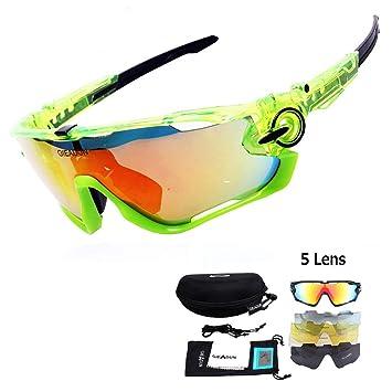 GIEADUN Gafas Deportivas de protección para Gafas de Sol con 4 Lentes Intercambiables polarizadas UV400 para Ciclismo, Pesca, esquí, Golf (All Green): ...