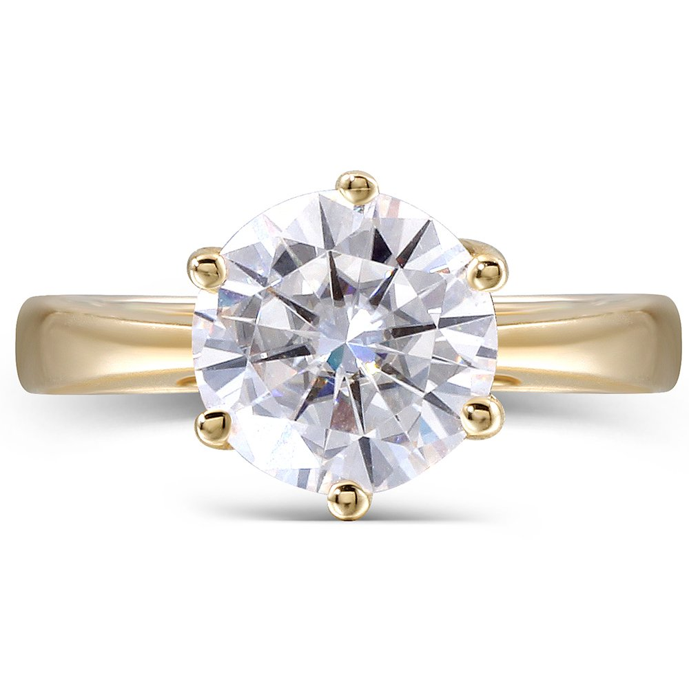 10K Yellow Gold 2.5 Carat H Color 2.8MM Width Round Moissanite Simulated Diamond Engagement Ring for Women (6)