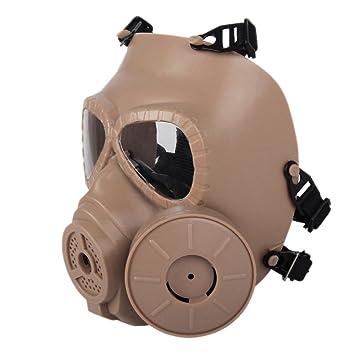 Sweetds Máscara de Gas, Filtro Doble CS Paintball Táctica Militar Ejército con Máscara de Protección