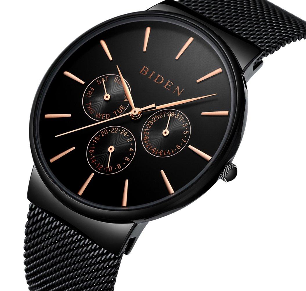 Biden WatchメンズレディースステンレススチールLuxuryビジネスカジュアルMilaneseメッシュバンド腕時計防水 ブラック B075HDPK5M ブラック ブラック