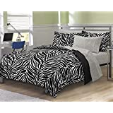 My Room Zebra Ultra Soft Microfiber Comforter Sheet Set, Black, Full