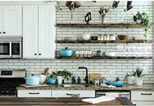 OERJU 8x6ft Modern Kitchen Backdrop White Brick Wall Cook Tools Photography Background Kitchen Interior Decor Housewife Party Banner Teaching Cook Online Vinyl Wallpaper New Home Vlog Photo Props