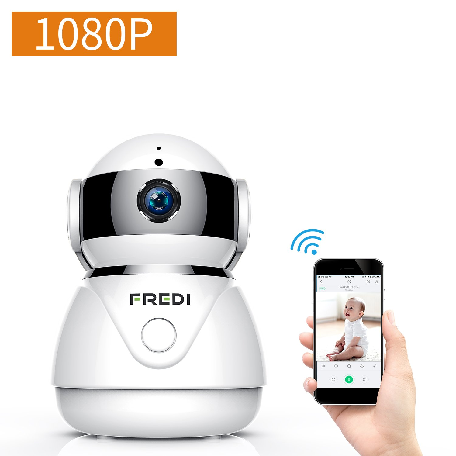 FREDI Wireless Camera Baby Monitor 1080P HD WiFi Security Camera Two-Way Talking Work Alexa Echo,Infrared Night Vision,Pan Tilt,P2P WPS Ir-Cut Nanny ip Camera Motion Detection-Cloud Service