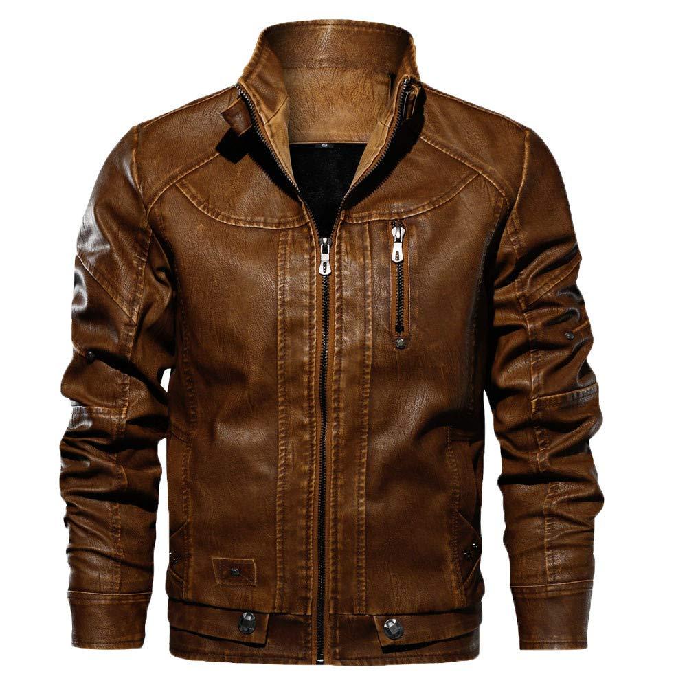 Men PU Leather Motorcycle Biker Jacket Vintage Slim Fit Hood Stand Zipper Outwear (L, Coffee) by sweetnice man clothing