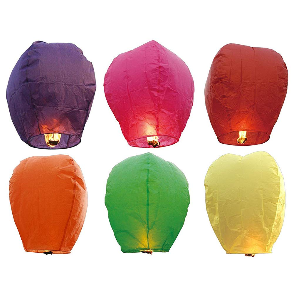 LonleyNine 12PCS Volanti Cinesi Lanterne di Carta Assortiti Colore Wishing Lanterne con Candela per Bambini Fun