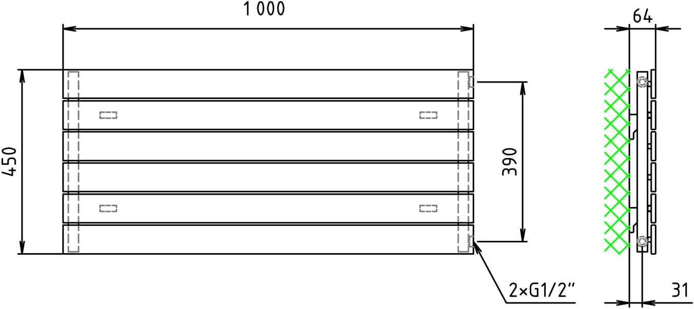 Design Paneelheizk/örper Heizk/örper Badheizk/örper 45 x 100