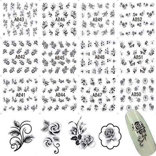 - 12 Sets Floral Arrangements Contemporary Boho Mandala Mehndi Tribal Nail Decals Over 150 Black Rose Flower Petals Nail Wraps Samoan Polynesian USO Tatau Nail Art kit
