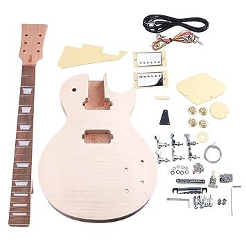 yibuy caoba DIY LP ¡ªstandard guitarra eléctrica cuerpo cuello diapasón pastilla con clavijas de afinación cerrada sin terminar Kit Traje Accesorios: ...