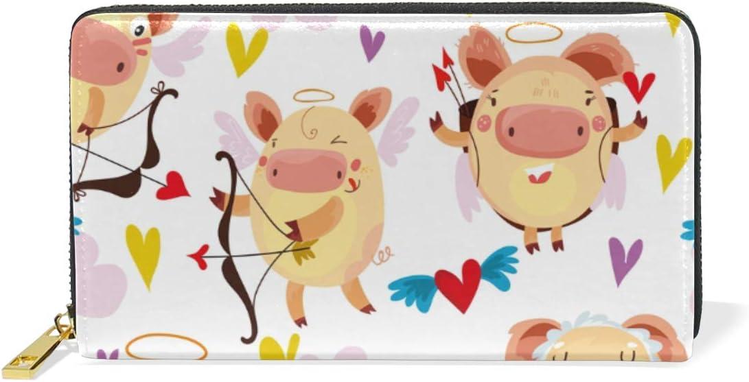 Amor Corazón Cerdo Tirador Monedero para Mujer Largo Billetera de Cuero Cartera con Cremallera de Mujers Teléfono Organizador