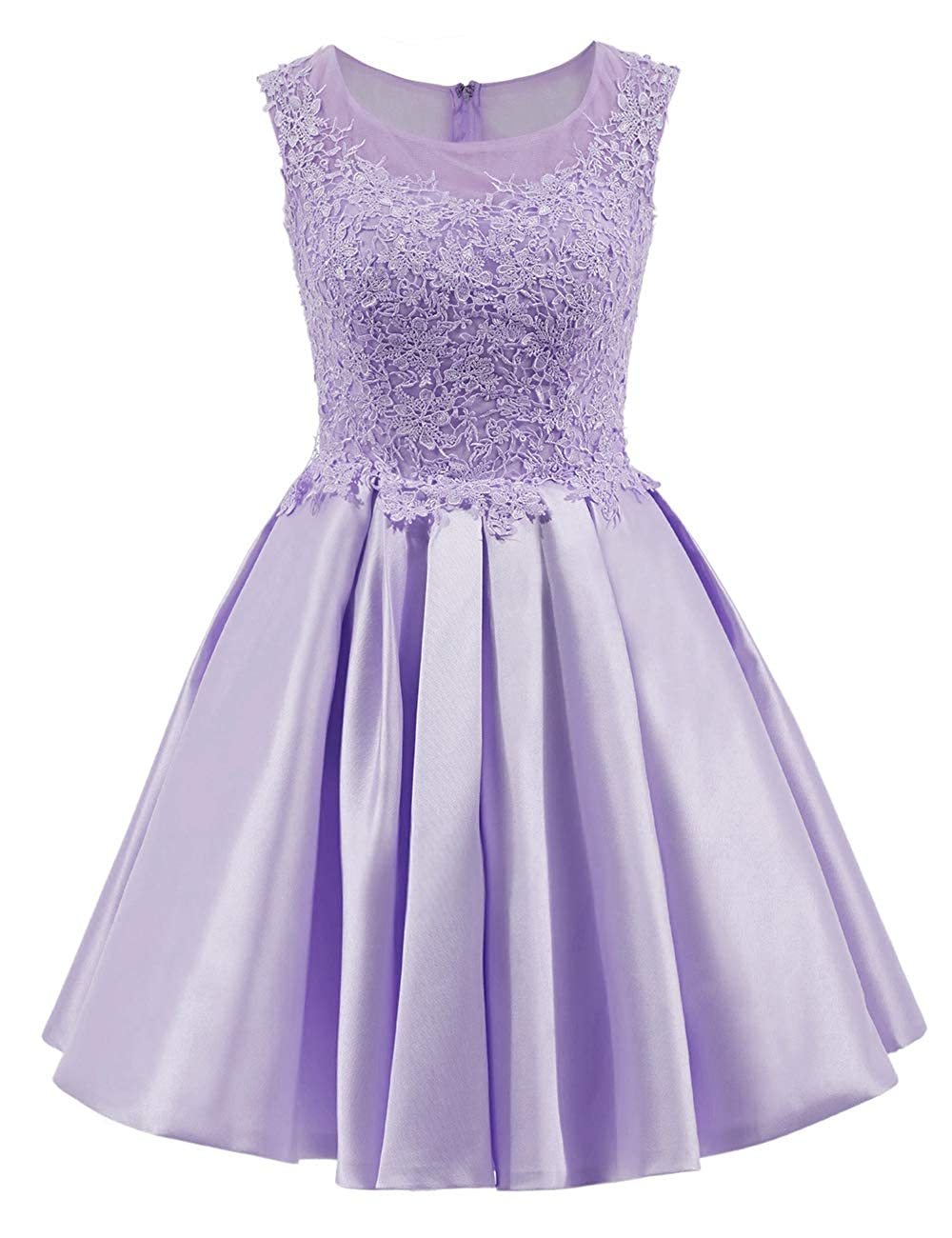 Lavender Uther Short Homecoming Dress Cap Sleeves Appliques Vintage Swing Dress Cocktail Dresses