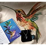 Smiling Wisdom - I Love Hummingbirds - Totem Spirit Animal Greeting Card Gift Set -Pillow Cover and Green Blue Necklace - Totem Animal Gift for a Teen, Young Adult or Woman